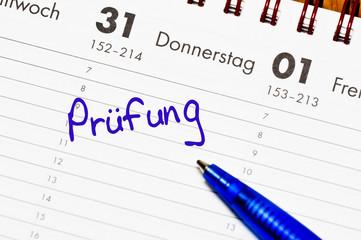 prüfung im kalender notiert