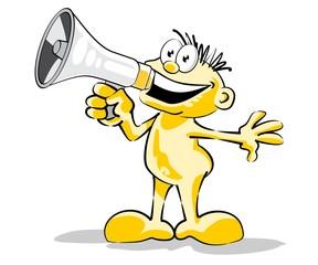 Speaking on the megaphone