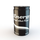 single can of fizzy soda energy drink with original design