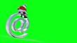 "Santa sits on an ""AT"" symbol. Against green and loopable."