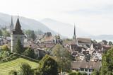 Fototapety Zuger Altstadt, Stadtmauer mit Kapuzinertrum, Schweiz