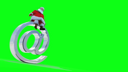 "Santa sits on an ""AT"" symbol. Against green and loopable."
