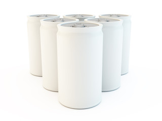 white blank isolated set of drinks or soda cans