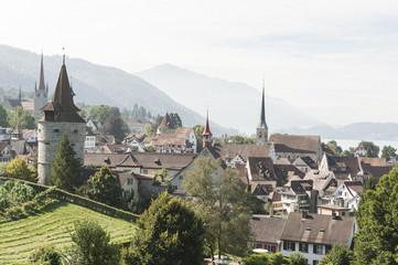 Zuger Altstadt, Stadtmauer mit Kapuzinertrum, Schweiz
