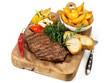 Steak mit Kartoffelecken und Gemüse
