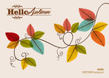 Hello autumn text. Tree branch with leaves background. EPS10 fil