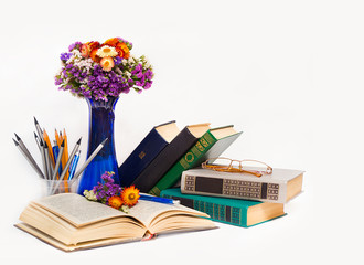 Teacher's Day! (Composition with spring flowers in a blue vase,