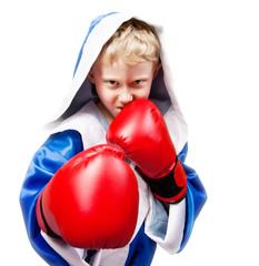 Boxing boy on white background