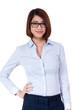 junge erwachsene geschäftsfrau mit brille portrait