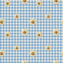 Tiling alpine pattern with edelweiss