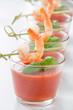 canvas print picture - Gazpacho mit Garnele und Basilikum