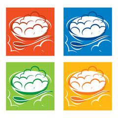 Dumplings food meat meal dough spoon pierogi ravioli