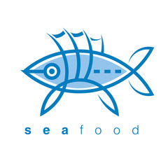 Seafood icon fish ocean water cell icon symbol
