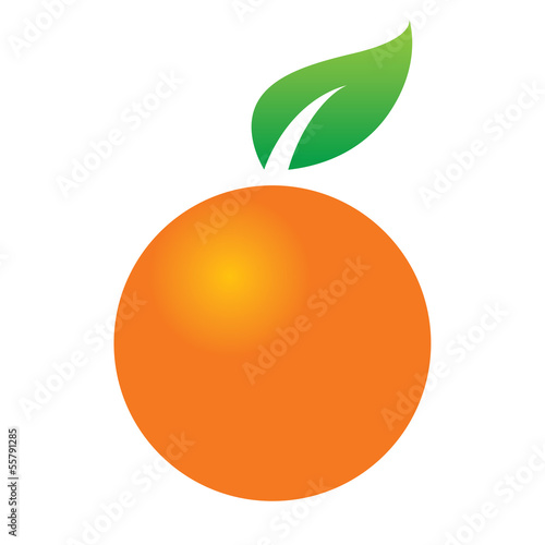 Orange citrus fruit juicy green leaf icon design symbol food