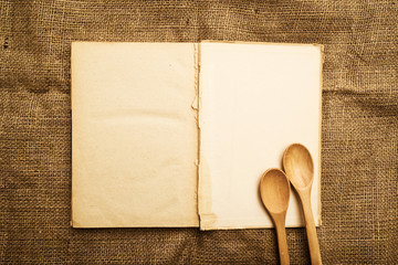 Old open recipe book