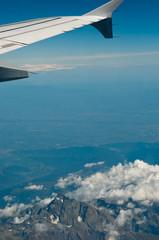 Flugreise-über den Wolken
