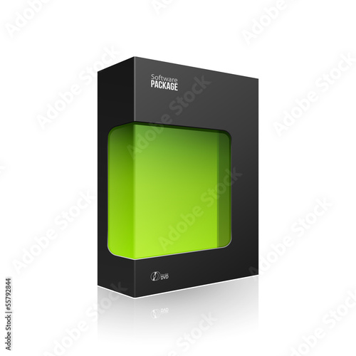 Black Modern Software Product Package Box With Green Window
