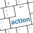 Social media network concept: action on computer keyboard key