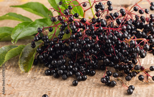 Elderberry on wooden table