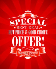 Best deal, special offer design template.