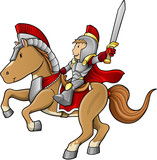 Hero Knight Warrior on Horse Vector Illustration