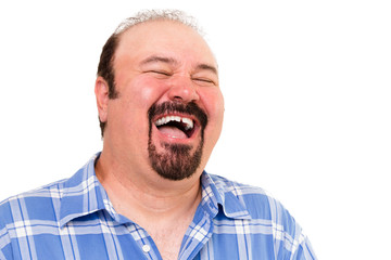Big man having a hearty laugh