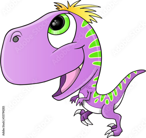 Cute Purple Raptor Dinosaur Vector Illustration