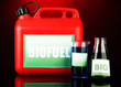 Bio fuels in canister and vials on red background