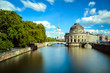 canvas print picture - Museum island on Spree river and the TV tower, Berlin