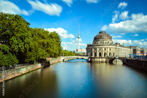 canvas print picture Museum island on Spree river and the TV tower, Berlin