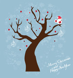 vector snow tree with bird in santa hat
