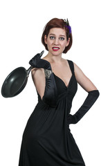 Woman Holding Frying Pan