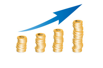 Business Growth With blue Arrow - money illustration