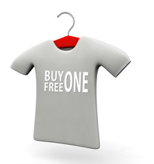 Buy one free one t-shirt concept illustration