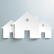 Three White Paper Houses Background