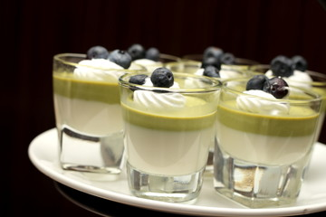 Green tea mousse dessert in a cup