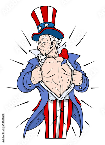 Superhero Uncle Sam Showing Chest - 4th of July Vector Illustrat
