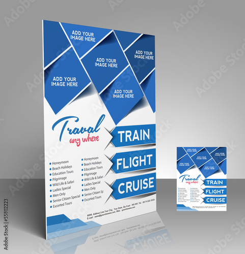 Vector Travel Flyer, Magazine Cover & Poster Template