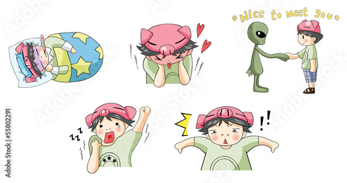 Piggy boy cartoon icon in various action set 5