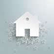 White Stars Cloud House Background