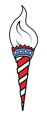 Torch light - 4th of july - USA - Vector