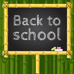 Back to school vector bamboo chalk board