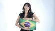 Ragazza Sexy con bandiera del Brasile