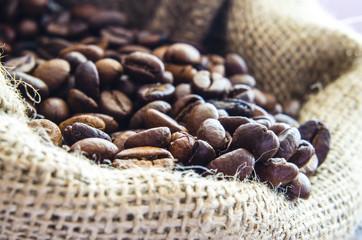 Coffee beans in wool bag