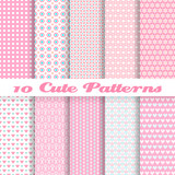 Fototapety Cute different vector seamless patterns (tiling). Pink color