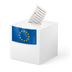 Ballot box with voicing paper. European Union.