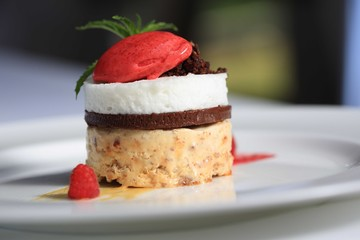 Fine dining strawberry cake on a plate