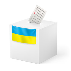 Ballot box with voicing paper. Ukraine.