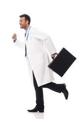 Doctor running urgency to patient