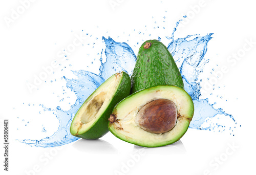 Avocado with water splash